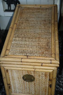 vintage trunk bamboo wicker and brass vintage chest vintage box toy box storage