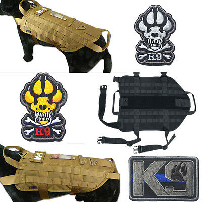 Tactical Military K9 MOLLE Service Dog Harness Police German Shepherd Vest Patch