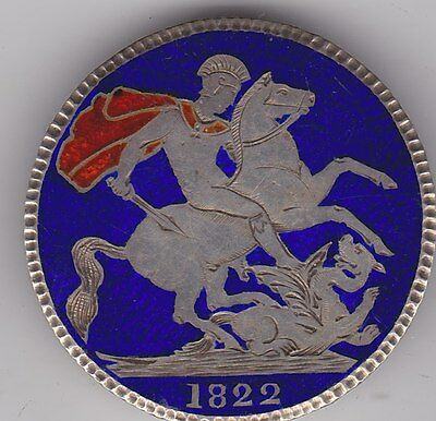 1822 George Iiii Enamelled Crown Brooch In A Good Collectable Condition
