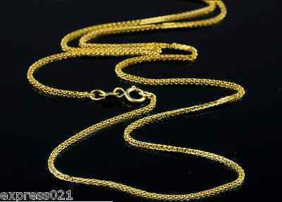 Pure Solid 18k Yellow Gold Necklace/ Wheat Link Chain Necklace / 2g