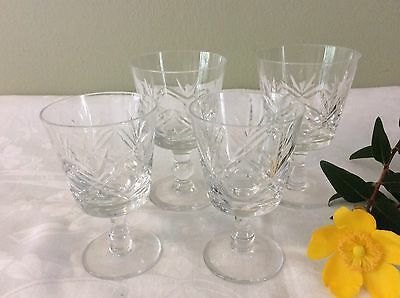 Set Of Four Stemmed Crystal Glasses By Thomas Webb Two Sizes Vgc