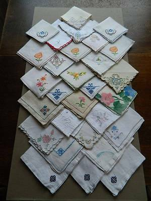 Collection 30 assorted vintage table napkins - all with embroidery detail