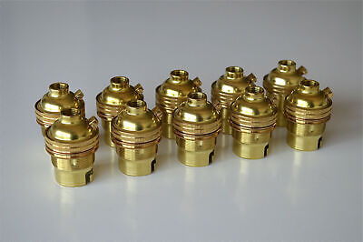 10 brass bayonet fitting bulb holders B22 earthed UK made 10mm entry L2