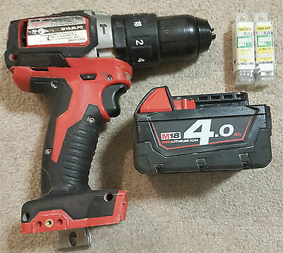 MILWAUKEE M18BLPD 18v BRUSHLESS HAMMER DRILL+BATTERY M18 4.0Ah+20x1/8Jobberdrill