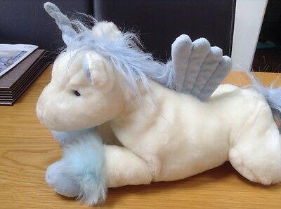 Animal Alley White And Blue Unicorn Cuddly Soft Toy With Wings