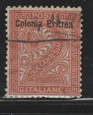 ERITREA 1893 SG2 2c Brown VFU  #