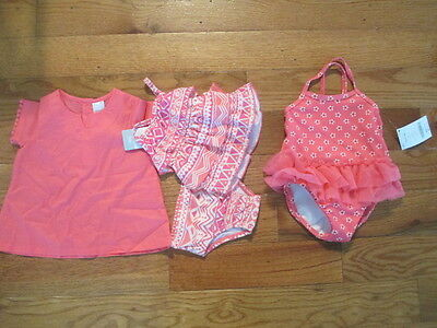 4 piece LOT of Baby Girl swimsuits size 3-6 months NWT