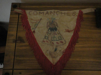 Comanche American Indian Scout Guide Pennant Flag Folk Art Teepee Hand Drawn ?