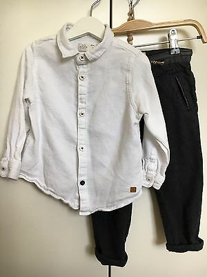 ZARA BabyBoy's White Smart Long Sleeve Shirt & Black Smart Trousers - 2/3 Years.