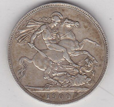 1900 Lxiv Victorian Old Head Silver Crown In Good Fine Condition