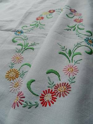 "Vintage hand embroidered Irish linen tablecloth. 34"" sq"