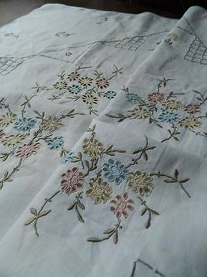 "Vintage hand embroidered Irish linen tablecloth. 42"" sq"