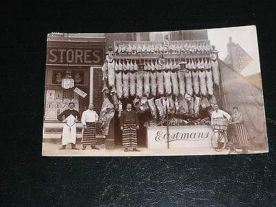 Original Real Photo Postcard - Eastman's Butchers Shop - Luton.