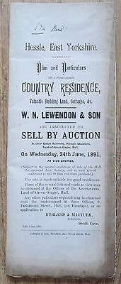 Hessle Hull East Yorks Plan & Particulars of Country Residence Auction Sale 1891
