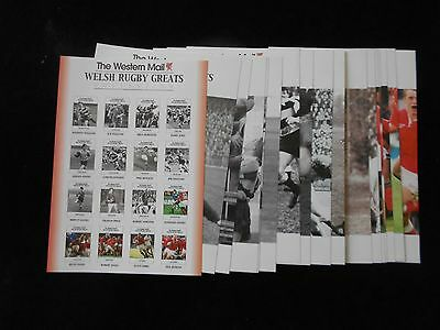 Western Mail Wales Welsh Rugby Greats Full 16 Card Set All Shown Circa 2001