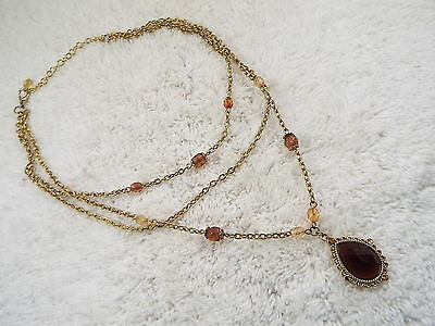 ROBERT ROSE Goldtone Amber Acrylic Pendant Necklace (B5)