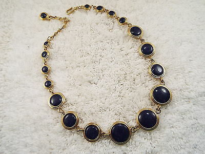 Goldtone Reversible Navy Blue White Necklace (B5)