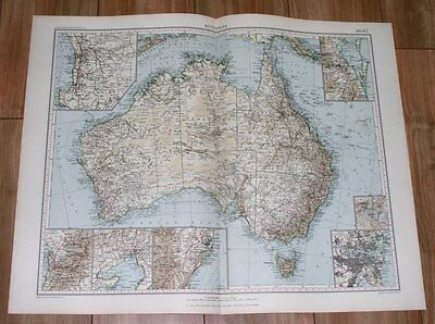 1927 Vintage Italian Map Of Australia / Melbourne Sydney Perth Brisbane Maps
