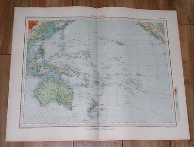 1927 Vintage Italian Physical Map Of Oceania Pacific Ocean / Australia Hawaii