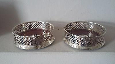 "Beautiful  Large Approx 5"" Pair Hallmarked Solid Silver Wine Bottle Coasters"