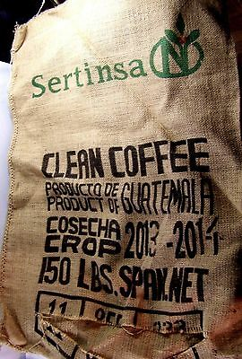 "Large 38"" Burlap Sack: 150LB COFFEE Sertinsa of Guatemala, empty bag, wall decor"