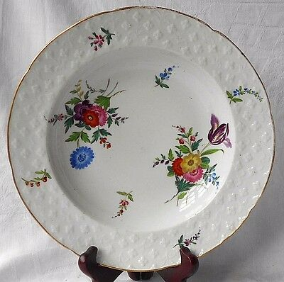 C19Th John Rose Coalport Hand Painted Soup Bowl With Flowers And Moulded Border