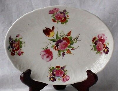 C19Th Coalport Hand Painted Dish With Flowers And Moulded Border