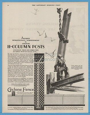 1929 Cyclone Fence Co Waukegan IL Steel Iron Workers Art H-Column Posts Ad
