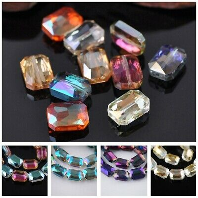10pcs 14x10mm Square Glass Crystal Faceted Prism Charms Loose Spacer Beads lot