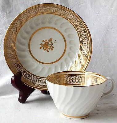 C19Th Coalport Gilded Cup And Saucer With Spiral Flutes