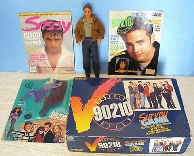 BEVERLY HILLS 90210~Lot BRANDON DOLL/ 2 MAGAZINES/ Survey BOARD GAME /FASHION