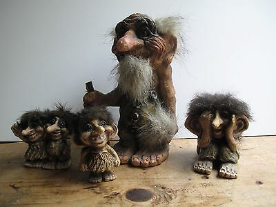 Group of trolls from Norway, largest is 22cm tall.