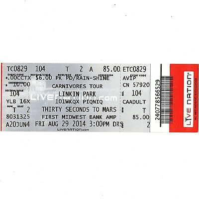 LINKIN PARK & THIRTY SECONDS TO MARS Concert Ticket Stub 8/29/14 TINLEY PARK IL
