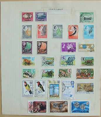 Album page of 28 Swaziland stamps