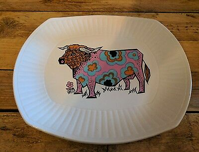 70s Vintage Retro Kitsch Beefeater Steak & Grill Set Plate Ironstone Pottery VGC