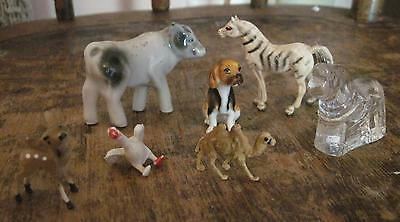 Vtg Miniature Figurine Collection Mixed Lot of 7 Zebra Camel Goose Dog Doe Deer