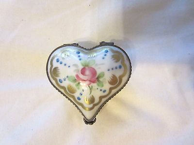 P.V. Limoges French Porcelain Heart Hinged Trinket Box Parry Vieille France NR