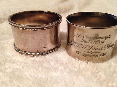 2 Vintage, Silver Plated Knapkin Rings, Prince Henry 1984.