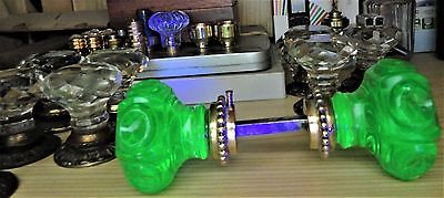 Pair ANTIQUE DOOR KNOBS - URANIUM GREEN Glass - VICTORIAN ERA Pulls Handles
