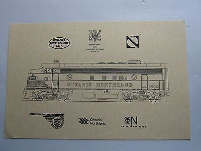 "Ontario Northland Diesel Locomotive Engine #1500 Print/Sketch 17""x11"" + 6 Logos"