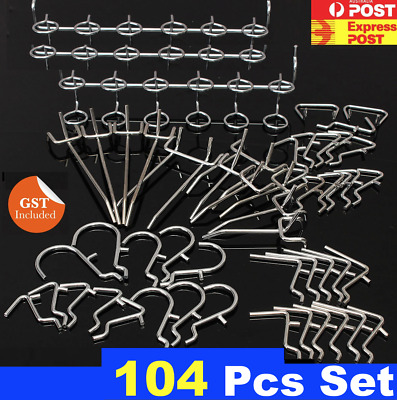 New 104 Pcs Peg Kit  For PegBoard Peg Board Panel hooks