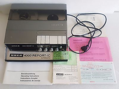 VINTAGE UHER 4000 REPORT IC PORTABLE REEL-TO-REEL TAPE RECORDER with MANUALS