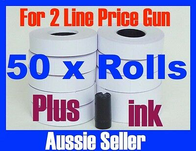 50 Rolls White  Labels Stickers Tags For Double Line 2 Lines Price Gun + 1X Ink