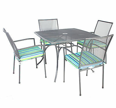 Charles Bentley Outdoor Metal Mesh 5 Piece Table and Chairs Grey Furniture Set