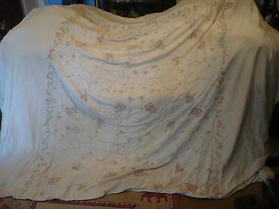 Vintage huge 100% silk ivory embroidered bedspread/throw English Home 2 cushion