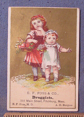 Antique 1880S Doctor E F Foss Druggist Fitchburg Ma Victorian Trade Card