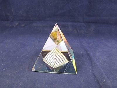 Crystal Esoteric Glass Egyptian Pyramid Ornament Paperweight.