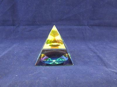 Crystal Esoteric Glass Mystic Pyramid Ornament Paperweight.
