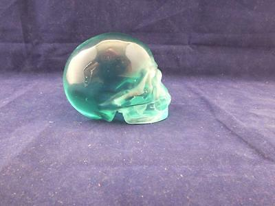 Small Hand Carved Green Glass Human Skull.