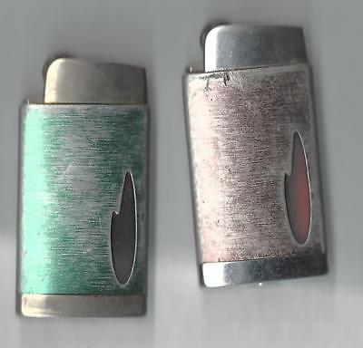 Lot of 2 Scripto Butane Lighters, 1 green, one Red, Sparks Well, See Description